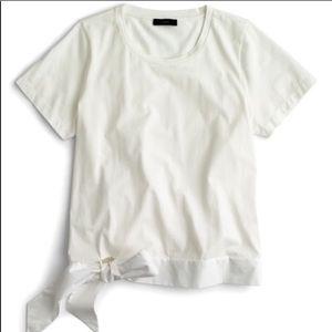 Jcrew White short sleeve tie bottom top